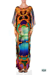 BAROCOCO Colorful Scenic Devarshy Long Georgette Kaftan - 1128C