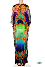 BAROCOCO Colorful Scenic Devarshy Crystal Embellished Long Kaftan - 1128C