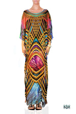 BAROCOCO Golden Ornate Devarshy Crystals Embellished Long Kaftan - 1129B