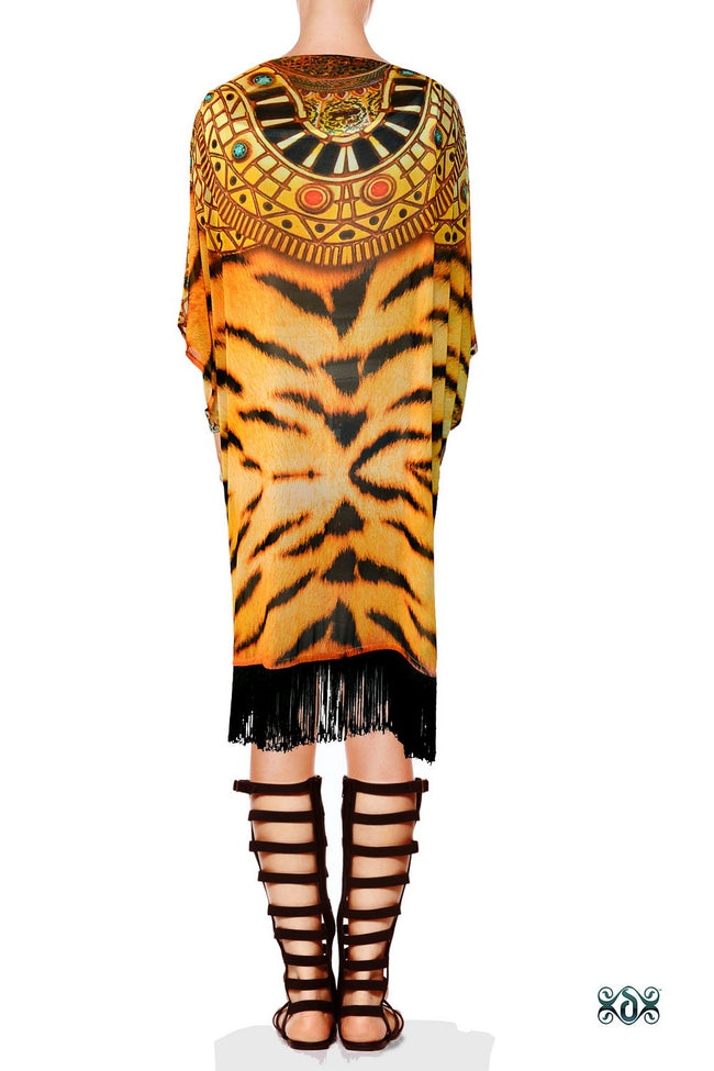 NATURE MORTE Luxury Tiger Print Devarshy Georgette Short Kimono Jacket - 0012