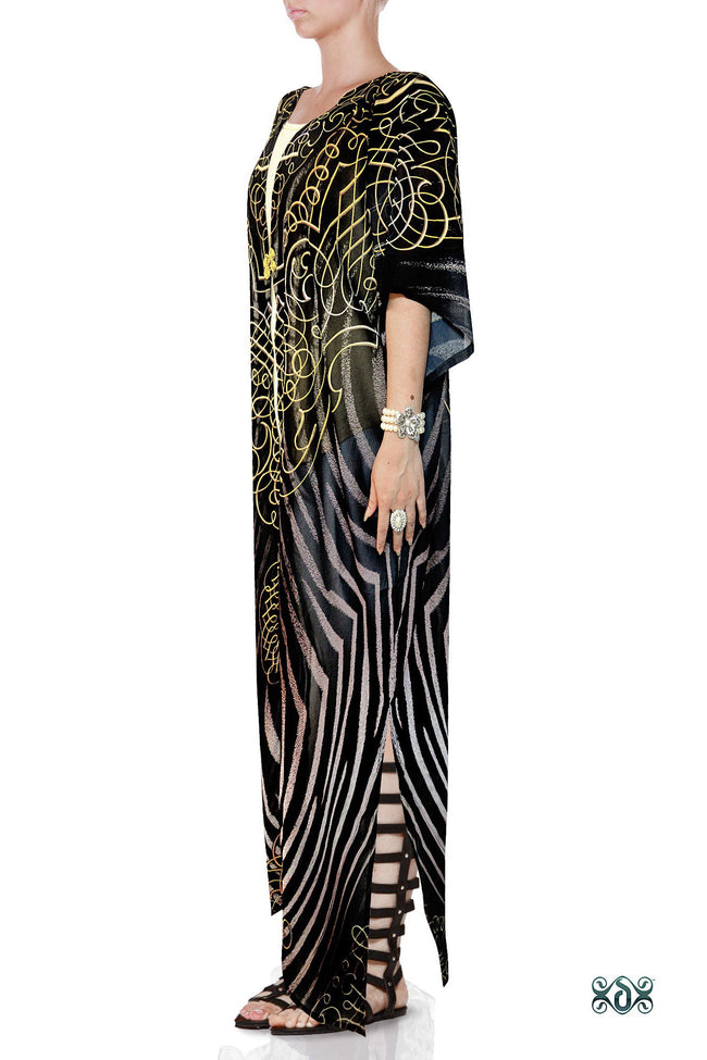 NATURE MORTE Decorated Stripes Devarshy Georgette Long Kimono Jacket - 1036A
