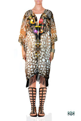 CRYSTALLIUS Decorated Stones Devarshy Georgette Short Kimono Jacket - 1047A