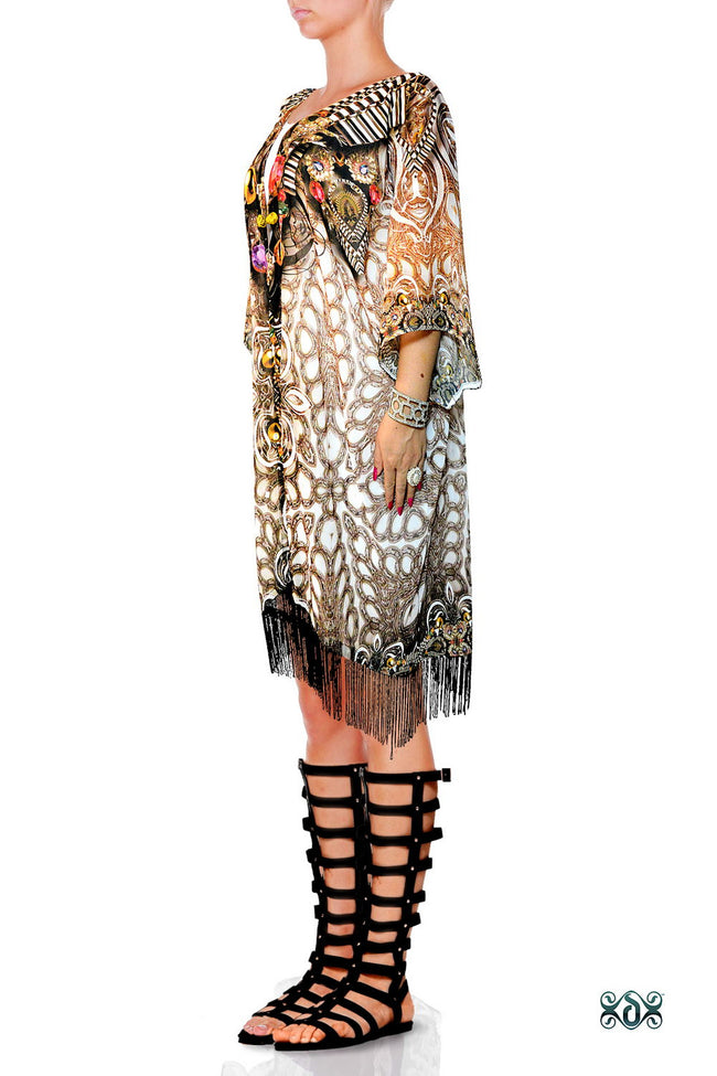 Devarshy CRYSTALLIUS Decorated Stones Georgette Short Kimono Jacket - 1047A
