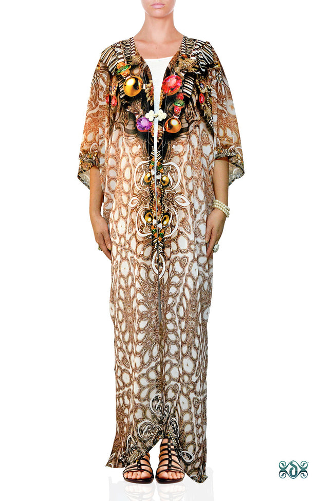CRYSTALLIUS Decorated Stones Devarshy Long Georgette Kimono Jacket - 1047A