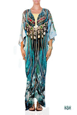 SUB-AQUALOGY Blue Ornate Chains Devarshy Long Kimono Jacket - 1060A
