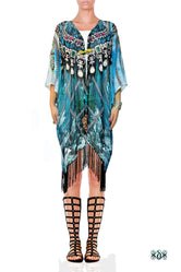 Devarshy SUB AQUALOGY Blue Ornate Chains Fringes Short Kimono Jacket - 1060A