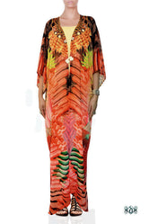 Devarshy Red Feathers Digital Print Georgette Long Open Designer Kimono Jacket - 1075A