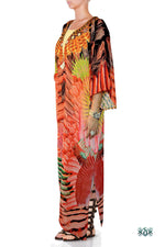 NATURE MORTE Red Feathers Printed Devarshy Long Georgette Kimono Jacket - 1075A