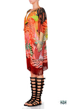 Devarshy NATURE MORTE Red Feathers Short Georgette Kimono Jacket - 1075A