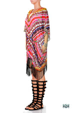 Devarshy Pink Aztec Patterns Short Georgette Kimono Jacket - 1076A