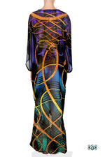 AURUM 79 Dark Spirals Devarshy Long Georgette Kimono Jacket - 1078A