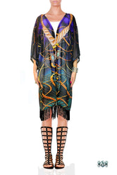 AURUM 79 Dark Spirals Devarshy Georgette Short Kimono Jacket - 1078A
