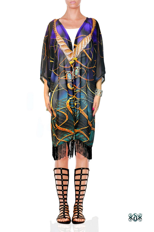 Devarshy AURUM 79 Dark Spirals Georgette Fringes Short Kimono Jacket - 1078A