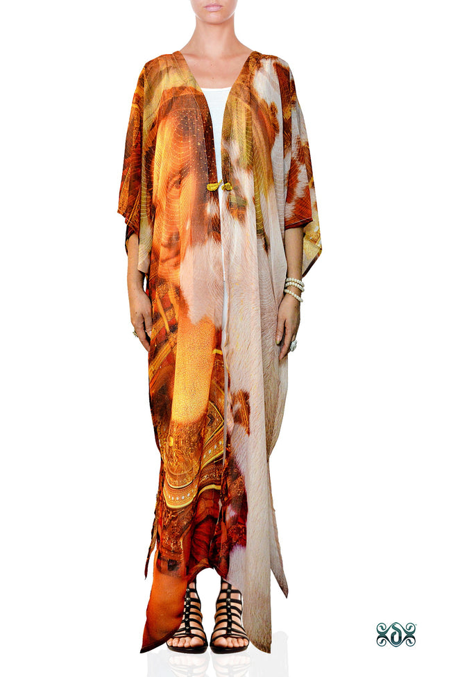 ART CLASSIQUE Mona Lisa Printed Georgette Long Kimono Jacket, Devarshy - 1079A