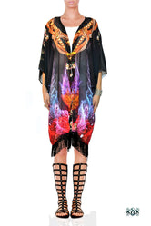 CRYSTALLIUS Dark Crystalline Devarshy Printed Short Kimono Jacket - 1096A