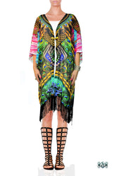 Devarshy NATURE MORTE Ornate Peacock Fringes Short Kimono Jacket - 1119A
