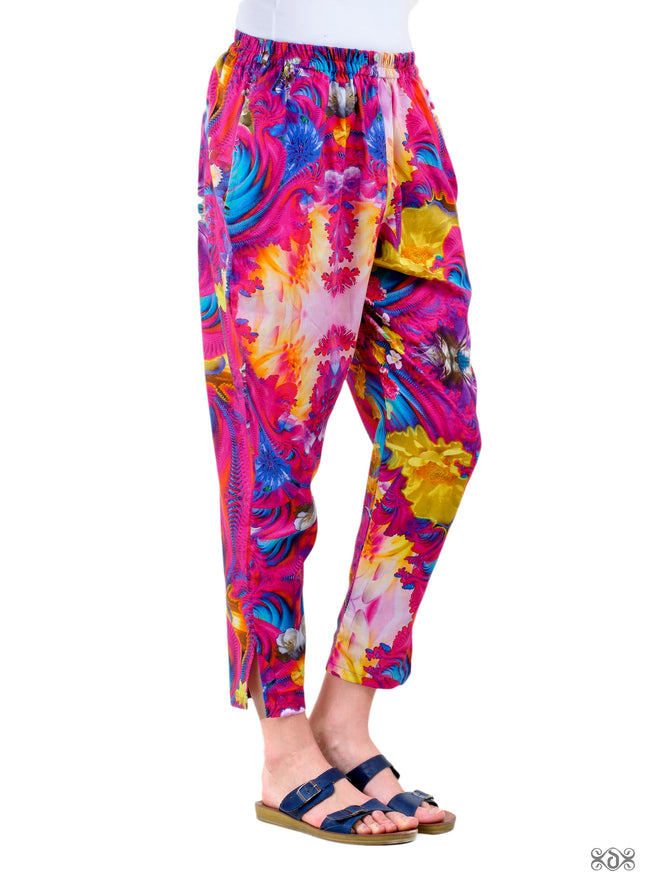 NATURE MORTE Pink Florals Devarshy Pure Cotton Women Tapered Pant