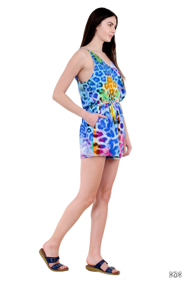 NATURE MORTE Turquoise Leopard Devarshy Summer Wear Pure Cotton Romper - 006