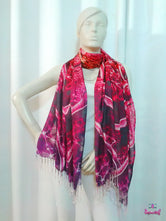 LA FUTURISMO Abstract Pink Devarshy Printed Viscose Long Stole - 1075C