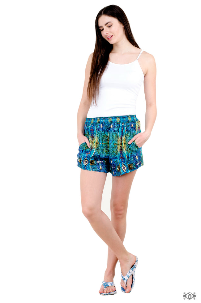 ART NOUVEAU Decorated Green Devarshy Pure Cotton Summer Shorts