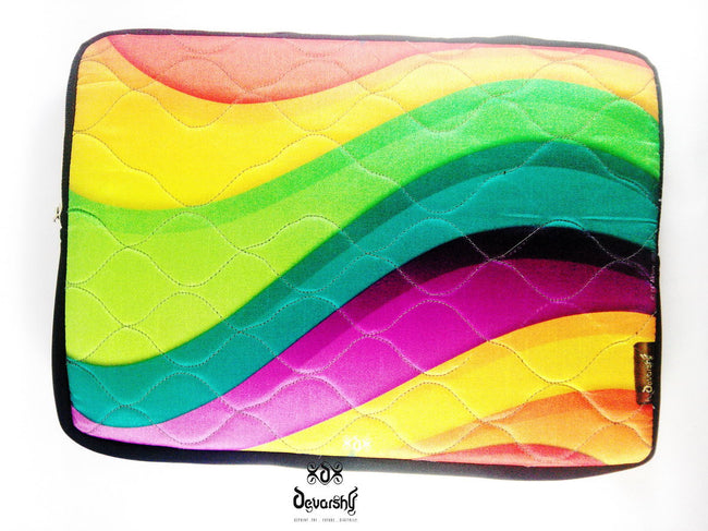 "Devarshy Digital Print Colorful Waves 16"" Laptop/ Mac book Pro Cover Sleeve Pouch , Accessories - DEVARSHY, DEVARSHY  - 2"