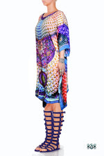 Devarshy Digital print Pearls Design Short Pure Silk Kaftan -1004 A , Apparel - DEVARSHY, DEVARSHY  - 2