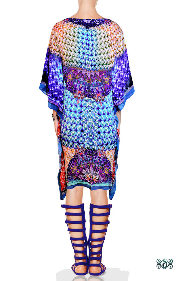 Devarshy Digital print Pearls Design Short Pure Silk Kaftan -1004 A , Apparel - DEVARSHY, DEVARSHY  - 3