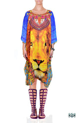 NATURE MORTE Majestic Blue Animal Print Devarshy Short Kaftan - 1092D