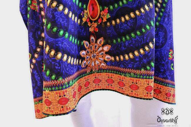 Devarshy Designer Royal Decorative Short Embellished Kaftan - Blue Orange , Apparel - DEVARSHY, DEVARSHY  - 5