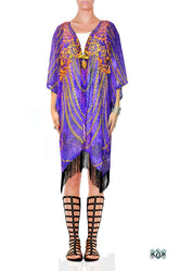 NATURE MORTE Ornate Chains Animal Print Devarshy Short Georgette Kimono Jacket