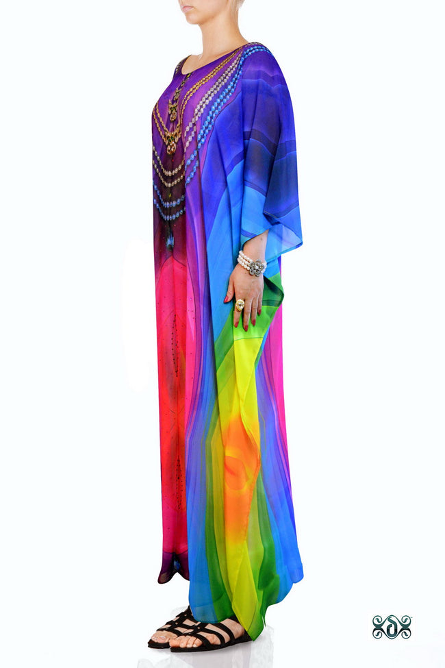 Devarshy Designer Rainbow Colors Digital print Elegant Long Embellished Kaftan Gown - 003B , Apparel - DEVARSHY, DEVARSHY  - 2