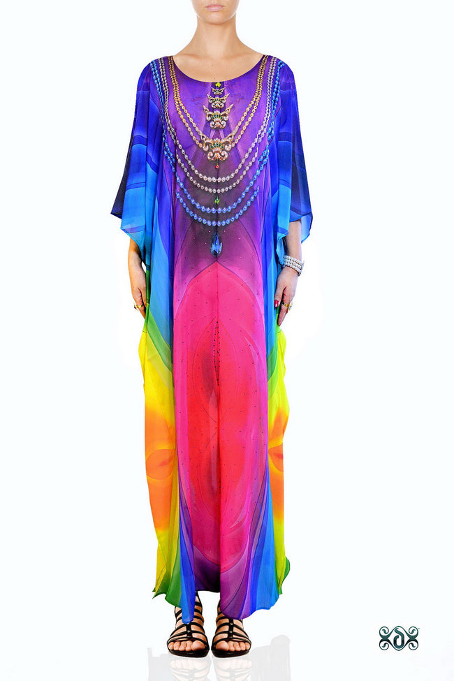 Devarshy Designer Rainbow Colors Digital print Elegant Long Embellished Kaftan Gown - 003B , Apparel - DEVARSHY, DEVARSHY  - 1