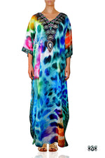 Devarshy Designer Animal print Turquoise Leopard Long Embellished Kaftan Dress - 006 , Apparel - DEVARSHY, DEVARSHY  - 1