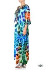 Devarshy Designer Animal print Turquoise Leopard Long Embellished Kaftan Dress - 006 , Apparel - DEVARSHY, DEVARSHY  - 2