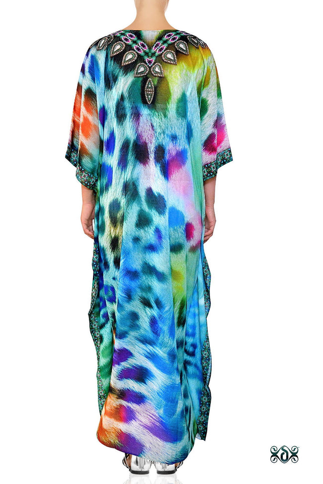 Devarshy Designer Animal print Turquoise Leopard Long Embellished Kaftan Dress - 006 , Apparel - DEVARSHY, DEVARSHY  - 3