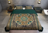 Green Baroque Printed Duvet Cover, Luxury BEDDING, Designer Bed Linen, Devarshy Home