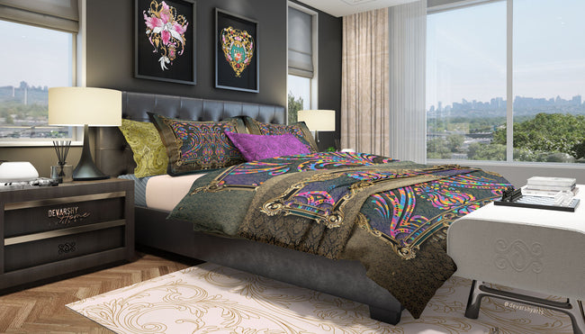 Decorative Baroque Printed Duvet Cover, Luxury Bed Linen, Printed Bedding Set, Devarshy Home