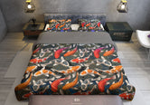 Koi Fish Printed Duvet Cover, Twin, Queen, King Size Bedding, Luxury Bed Linen, Devarshy Home
