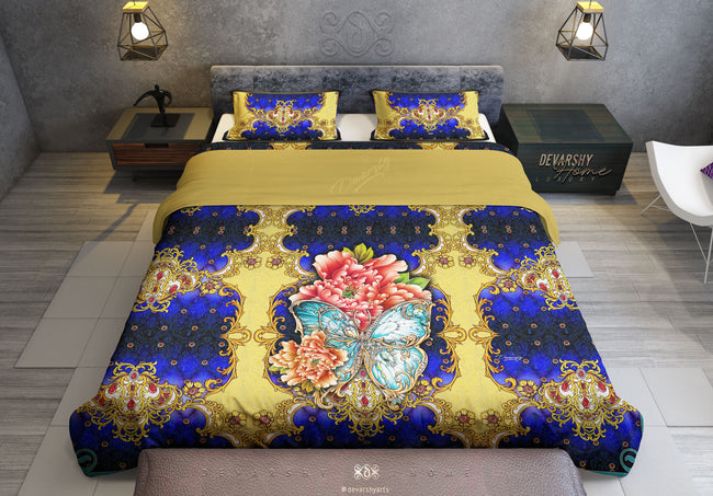 Royal Blue Baroque Printed Duvet Cover, Twin, Queen, King Size Bedding, Luxury Bed Linen, Devarshy Home