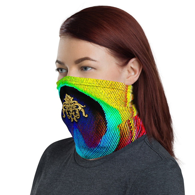 Peacock Feather Printed Neck Gaiter, Reusable Face Mask, Fabric Face Cover/Neck Tube, PF - 11138