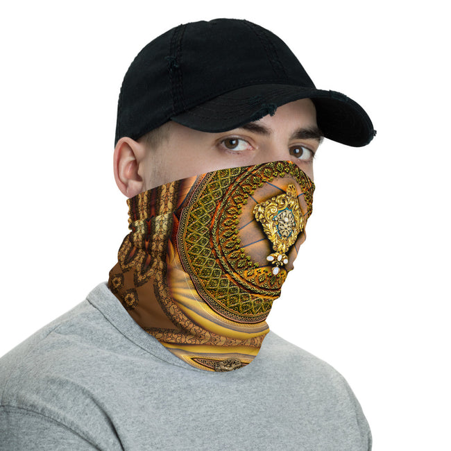 Baroque Golden Print Neck Gaiter, Unisex Face Mask For Protection, Cloth Face Cover/ Neck Tube, PF - 11144