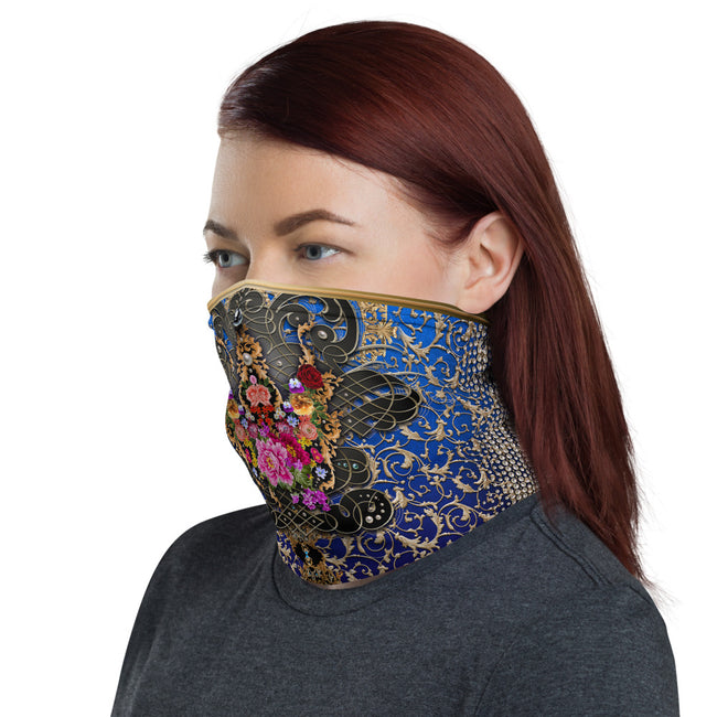 Royal Blue Floral Print Neck Gaiter, Printed Face Mask, Headband, Floral Face Cover, Unisex Neck Tube, PF - 11160