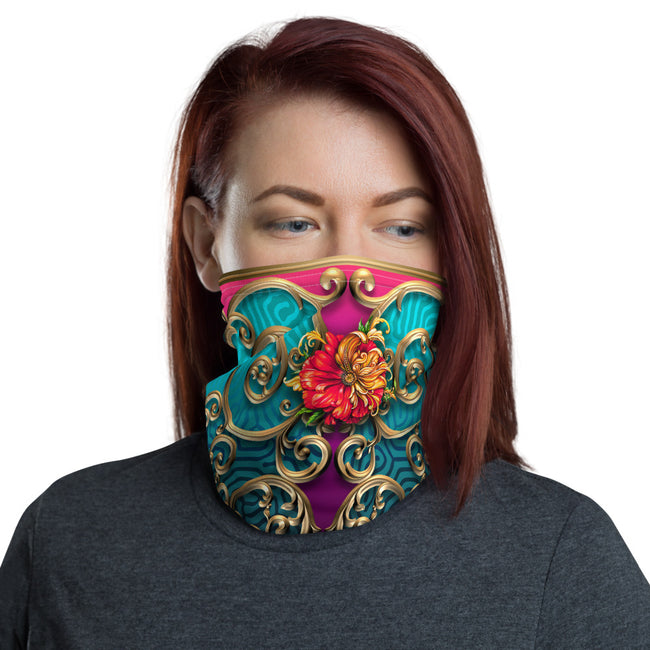 Art Nouveau Golden Spiral Neck Gaiter (2 Colours), Washable Face Mask For Protection, Fabric Face Cover/Neck Gaiter, PF - 11165
