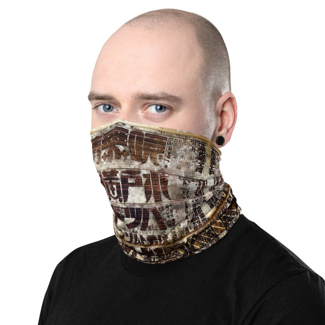 Japanese Newspaper Print Neck Gaiter, Antique Print Face Mask, Cloth Face Cover/Neck Tube, PF - 11193