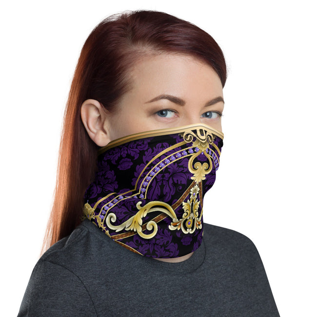 Baroque Decorative Purple Neck Gaiter, Reusable Face Mask, Cloth Face Cover/Neck Tube, PF - 11219