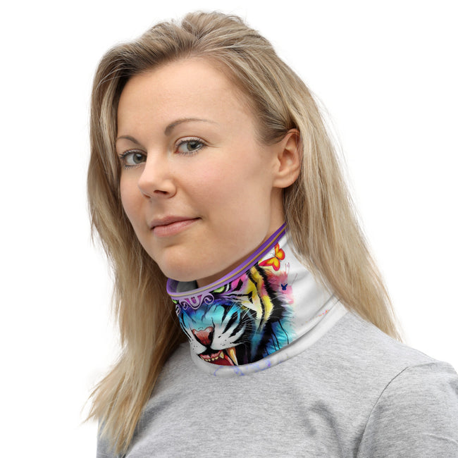 Abstract Colorful Tiger Neck Gaiter, Tiger Face Mask, Fabric Face Cover/Neck Tube, PF - 11227