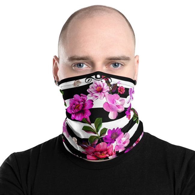 Sailor Stripes Neck Gaiter, Pink Floral Face Mask Neck Tube, PF - 11238