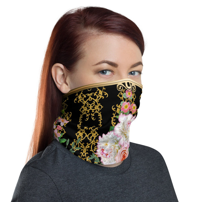Baroque Decorative Floral Neck Gaiter, Floral Face Mask, Cloth Face Cover/Neck Tube, PF - 11239