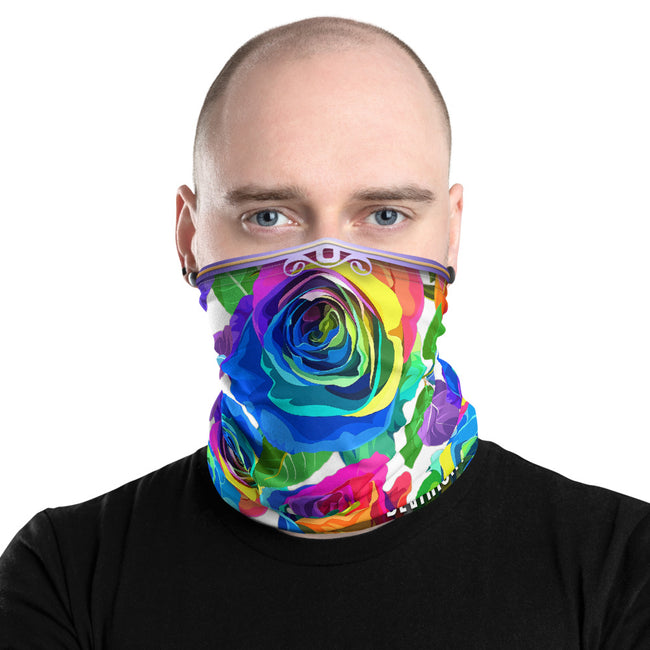 Spectrum Roses Neck Gaiter (3 Colors), Floral Face Mask Neck Tube, PF - 11255