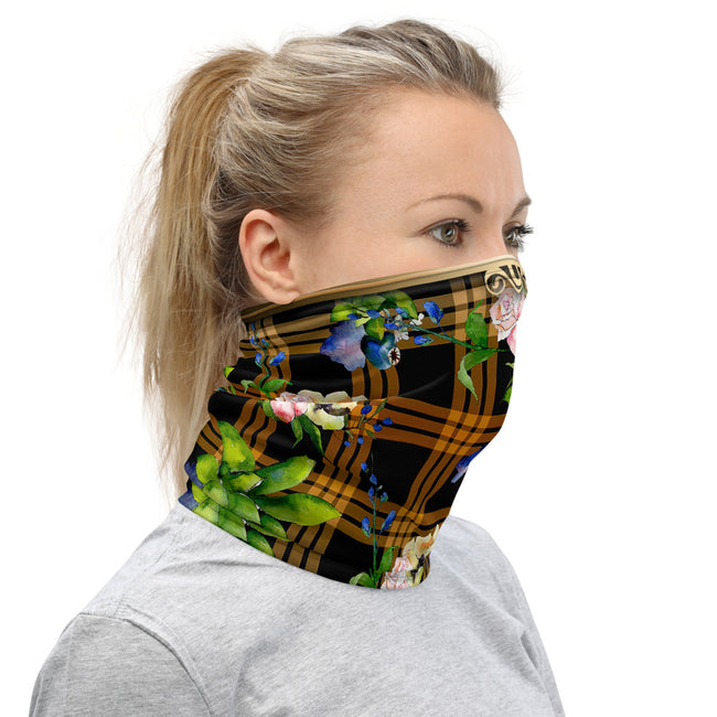Brown Checks Floral Neck Gaiter, Fabric Face Mask Neck Tube, PF - 11256